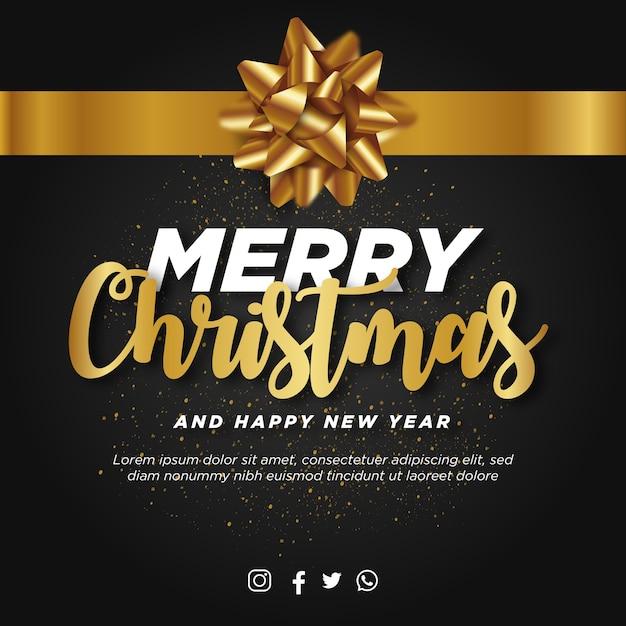 Merry christmas post met realistisch gouden lint Gratis Vector