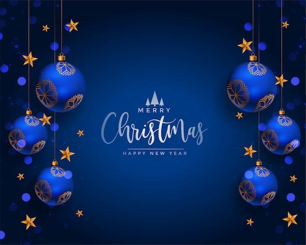 Merry christmas realistische ballen decoratie groet Gratis Vector