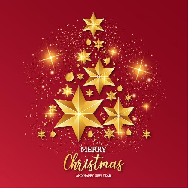 Merry christmas rode kaartsjabloon Gratis Vector
