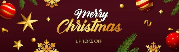 Merry christmas sale banner Gratis Vector