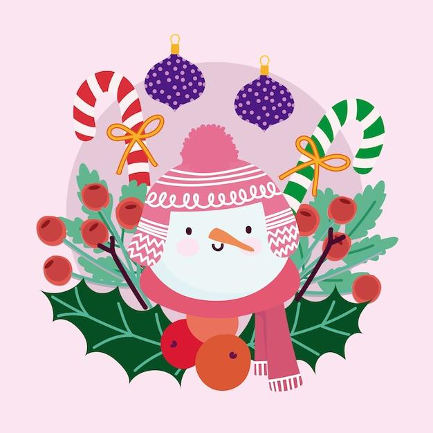 Merry christmas schattige sneeuwpop ballen candy cane holly berry decoratie Premium Vector