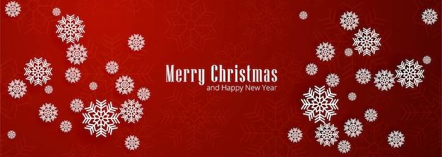 Merry christmas sneeuwvlokken banner rood Gratis Vector