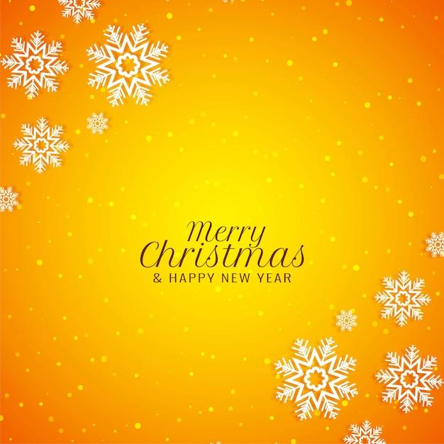 Merry christmas stijlvolle moderne gele achtergrond Gratis Vector
