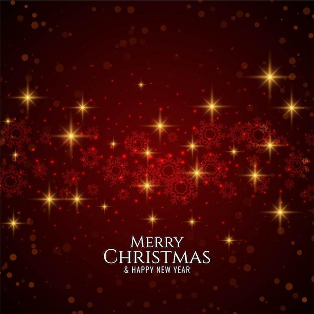 Merry christmas stijlvolle moderne rode achtergrond met sterren Gratis Vector