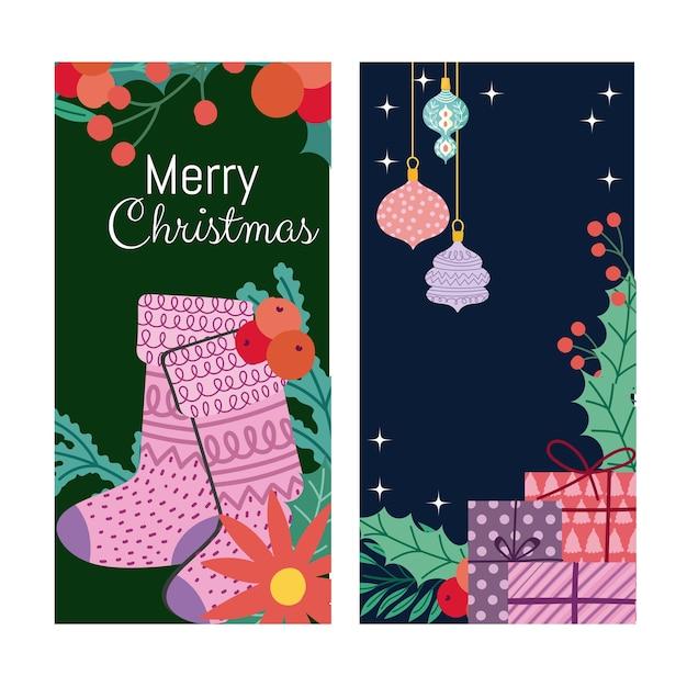 Merry christmas stocking flower balls en geschenken banner Premium Vector