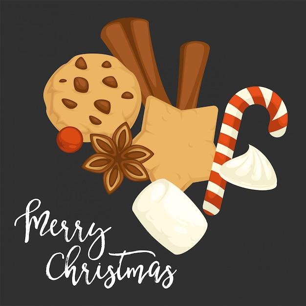 Merry christmas traditionele koekjes en koekjes met kaneel Premium Vector