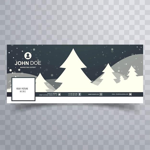 Merry christmas tree met facebook banner kleurrijke sjabloon Gratis Vector