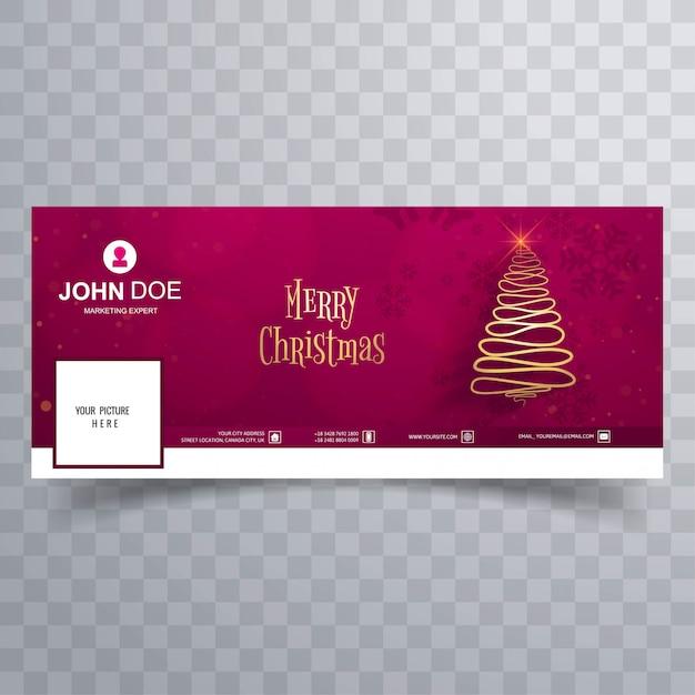 Merry christmas tree met facebook cover banner sjabloon Premium Vector