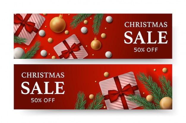 Merry christmas verkoop banner Premium Vector