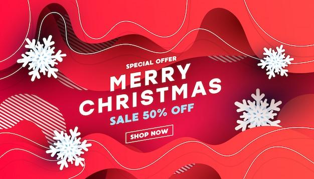 Merry christmas verkoop kortingsbanner met witte sneeuwvlokken Premium Vector
