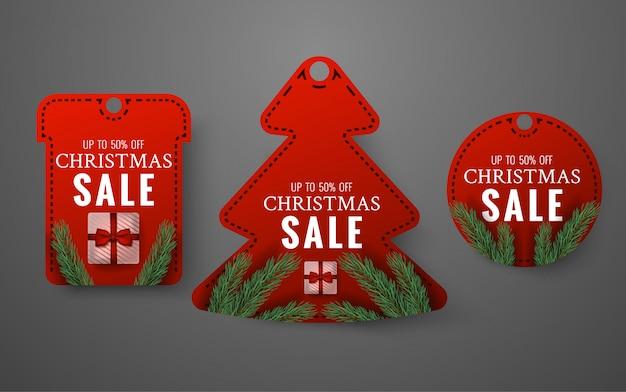 Merry christmas verkoop label set Premium Vector