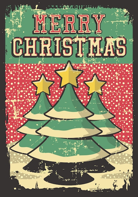 Merry christmas vintage poster Premium Vector
