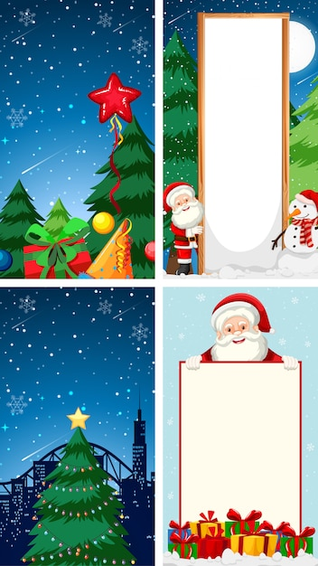 Merry christmas wenskaart achtergrond met santa claus karakter Gratis Vector