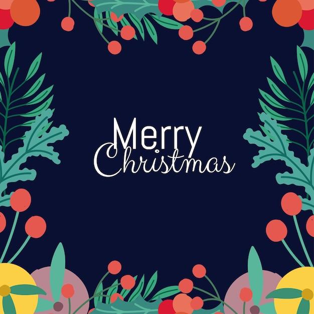 Merry christmas wenskaart belettering holly berry fruit frame Premium Vector