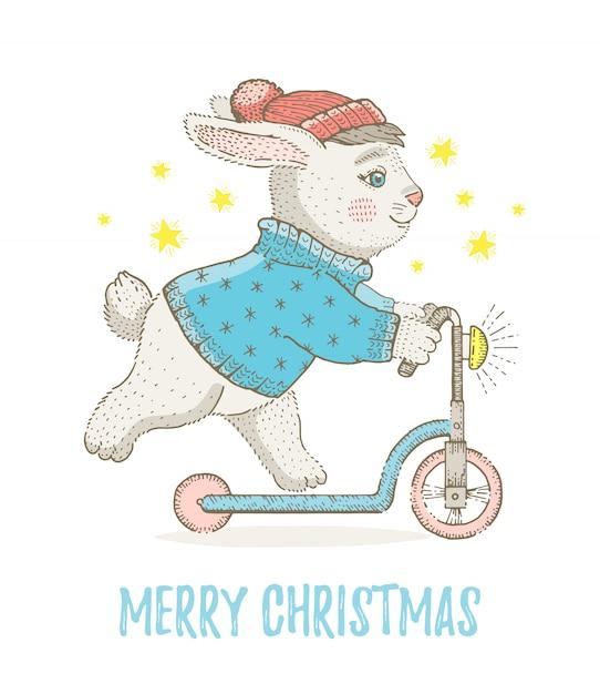 Merry christmas wenskaart met konijntje Premium Vector