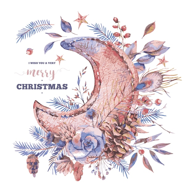 Merry christmas wenskaart met maan, rozen, vuren takken Premium Vector