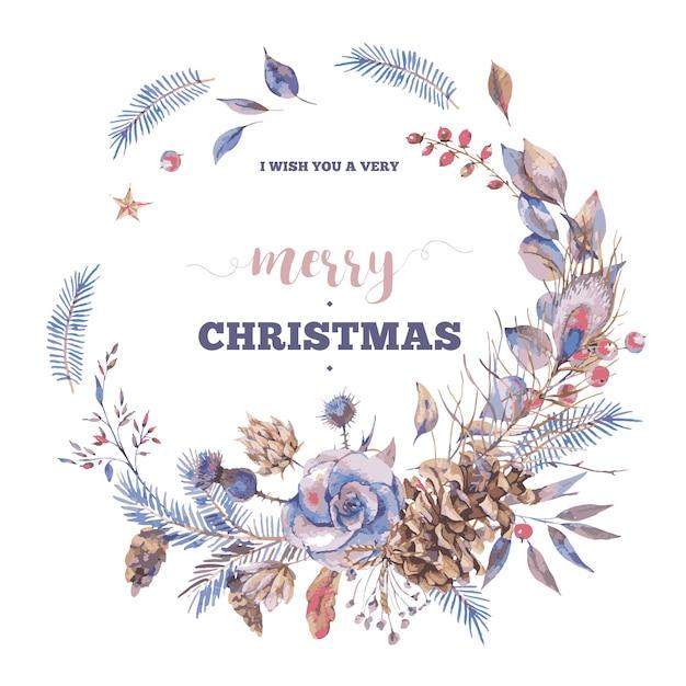 Merry christmas wenskaart met natuurlijke vintage krans met rozen Premium Vector
