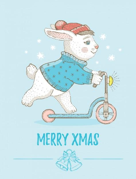 Merry christmas wenskaart met schattig konijntje. schets konijn op scooter. cartoon vectorillustratie Premium Vector