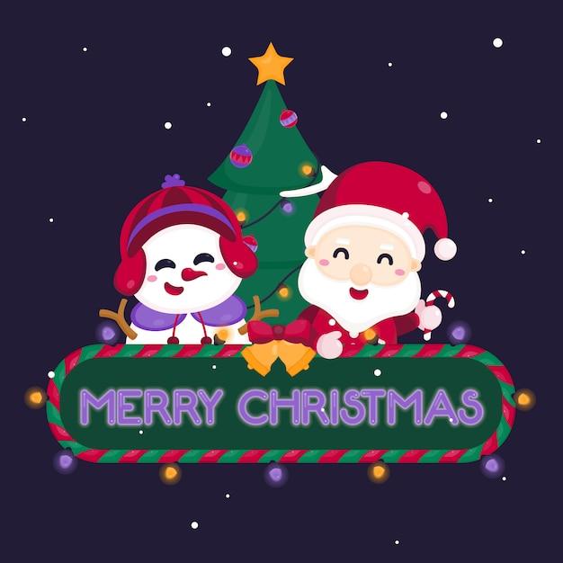Merry christmas wenskaart met schattige kerstman en rendieren. Premium Vector