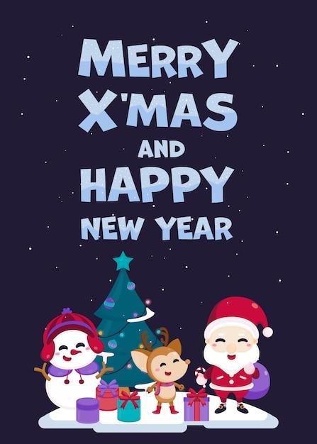 Merry christmas wenskaart met schattige kerstman, rendieren, sneeuwpop en kerstboom. Premium Vector