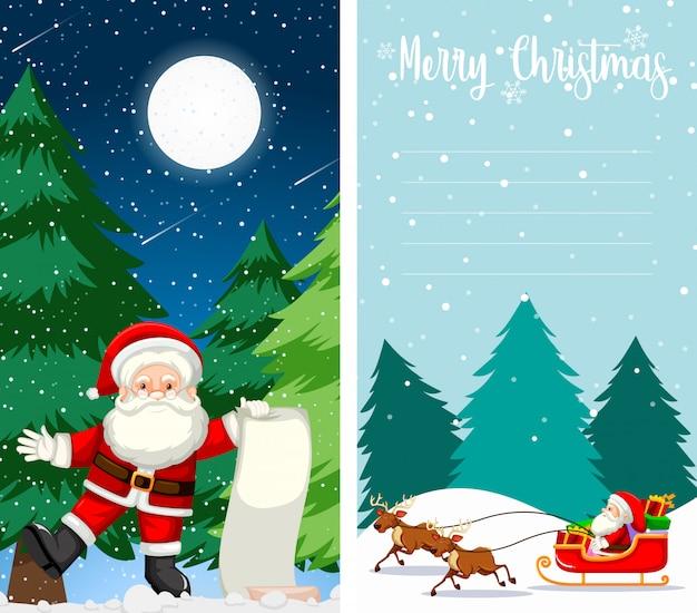 Merry christmas wenskaart of brief aan de kerstman met tekstsjabloon Gratis Vector