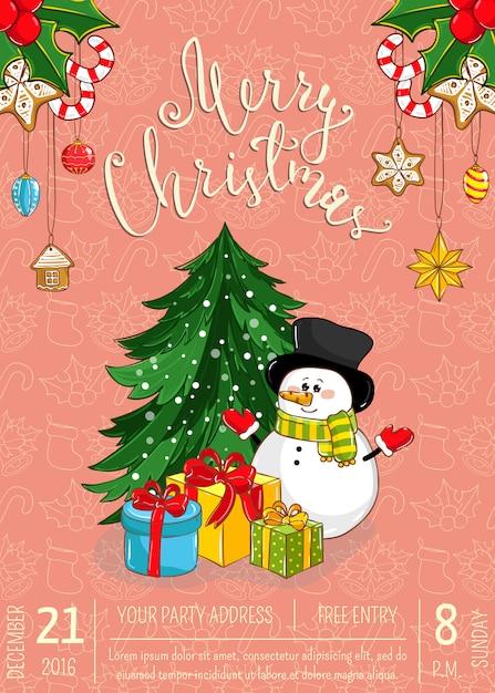 Merry christmas wenskaart of uitnodiging voor holiday party promo Premium Vector