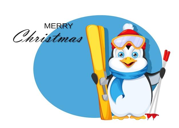 Merry christmas wenskaart. schattige pinguïn met ski's Premium Vector