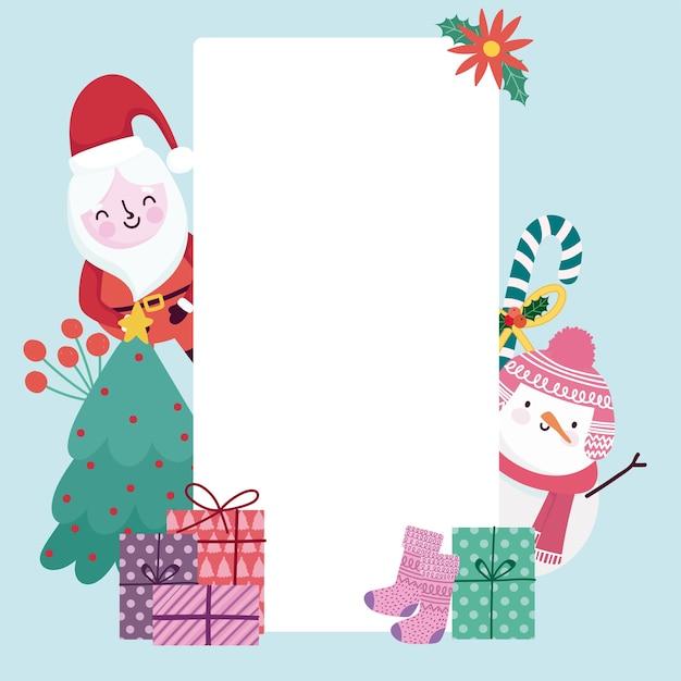 Merry christmas wenskaart schattige santa sneeuwpop geschenken en holly berry Premium Vector