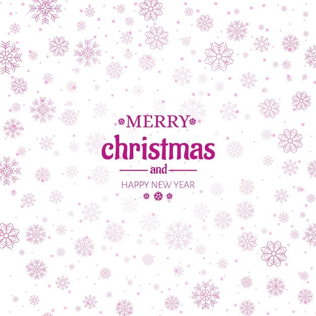 Merry christmas wenskaart sneeuwvlokken achtergrond Gratis Vector