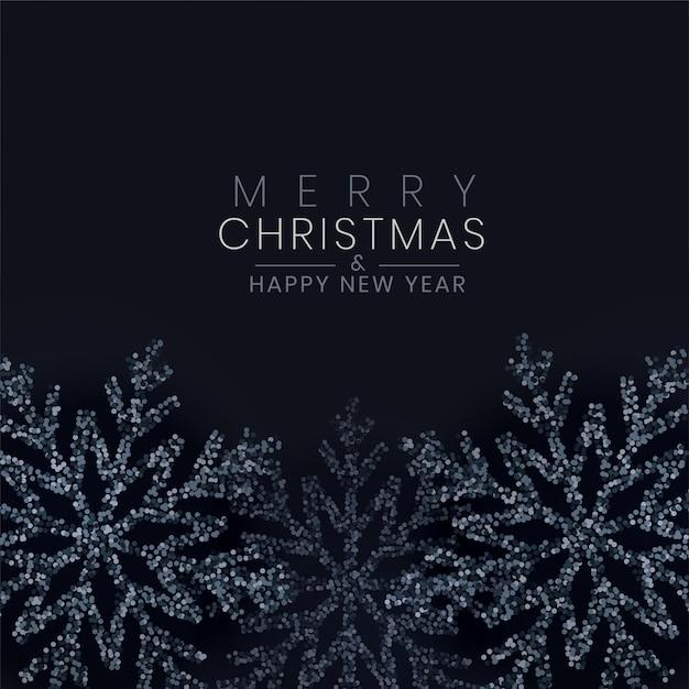 Merry christmas zwarte sneeuwvlok gemaakt met glitter achtergrond Gratis Vector