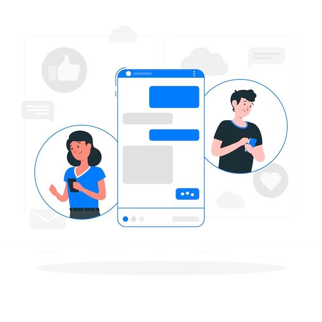Messenger concept illustratie Gratis Vector