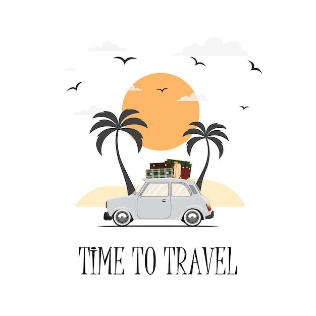 Met de auto reizen. rondrit. tijd om te reizen, toerisme, zomervakantie. platte ontwerp illustratie Premium Vector