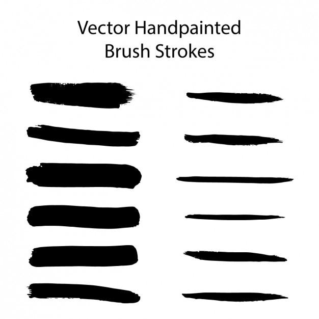 Met de hand beschilderd borstels slagen collectie Gratis Vector