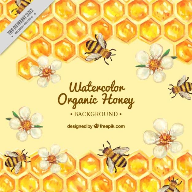 Met de hand beschilderd korf met bloemen en bijen achtergrond Gratis Vector