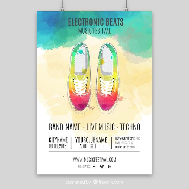 Met de hand beschilderd muziek poster Premium Vector