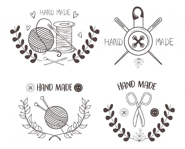 Met de hand gemaakt naaien set pictogrammen Premium Vector