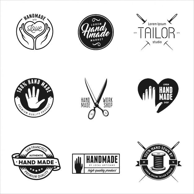 Met de hand gemaakte etiketten, insignes en elementen in vintage stijl. Premium Vector