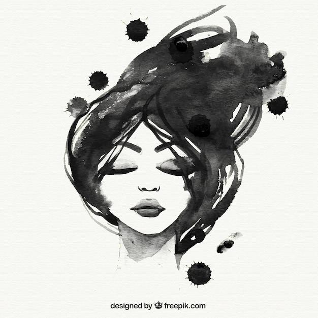Met de hand geschilderd zwarte vrouw Premium Vector