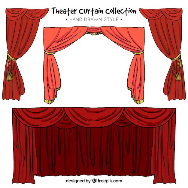 Met de hand getekende set van theater gordijnen in rode tinten ...