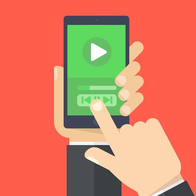 Met één hand kunt u een aanraakscherm voor smartphones en vingers houden. Premium Vector
