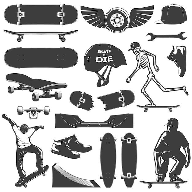 Met een skateboard rijdend pictogram vastgesteld materiaal en bescherming voor geïsoleerde schaatserjongen en zwarte vectorillustratie Gratis Vector
