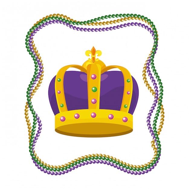Met juwelen getooide kroon met kralen Premium Vector