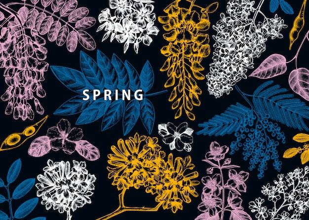 Met lentebomen in bloemenillustraties. hand getekend bloeiende plant achtergrond. vector bloem, blad, tak, boom schetst sjabloon. lente kaart of wenskaart. Premium Vector