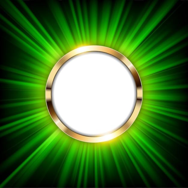 Metaal gouden ring met tekstruimte en groen licht Premium Vector
