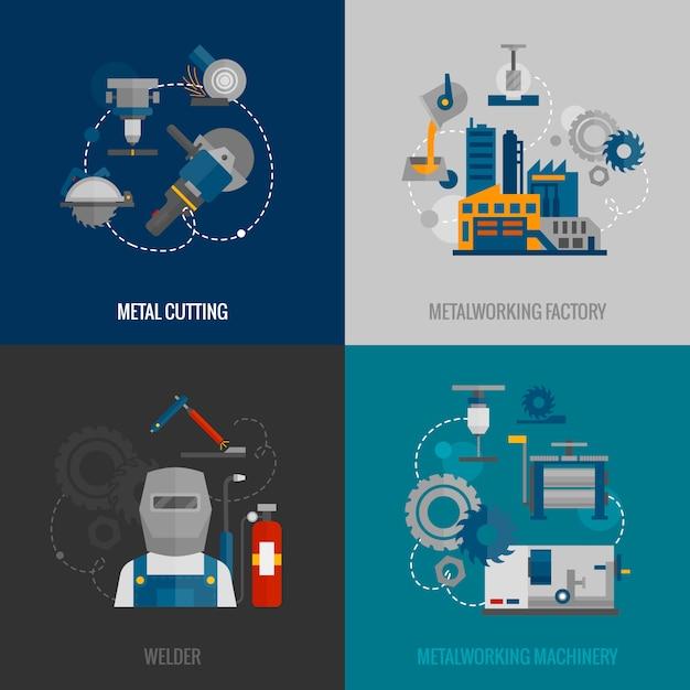 Metaalbewerking fabriek plat pictogrammen Gratis Vector