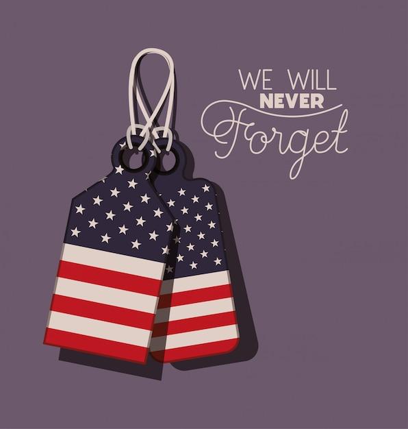 Metaalplaten met de vlag van de vs van herdenkingsdag Premium Vector