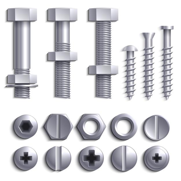 Metaalschroeven, staalbouten, noten, spijkers en klinknagels op witte vectorreeks worden geïsoleerd die Premium Vector