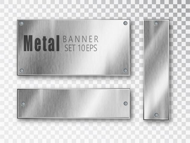 Metalen banners realistisch ingesteld. Premium Vector