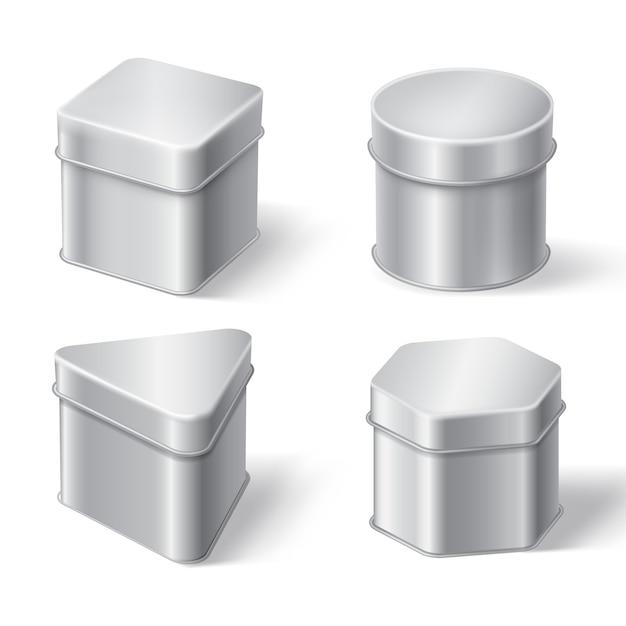 Metalen blikken dozen voor koffie, thee of snoep Gratis Vector