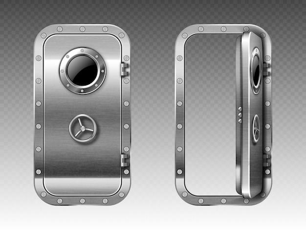 Metalen deur met patrijspoort, onderzeeër of bunker Gratis Vector